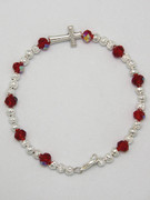 Rosary Bracelet: Red Crystal (RB5280R)