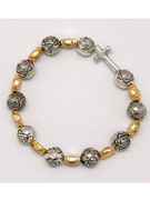 Rosary Bracelet: Gold & Silver Stretch(RB5228)