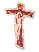 Stylised Wall Crucifix: Wood Look 18cm (CR2823)