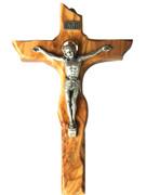 Wall Crucifix: Olive Wood Scalloped Edge 23cm (CR850)