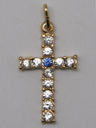 Cross Pendant: Gold with Zirconia (CR298)