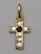 Cross Pendant: Gold with Zirconia 17mm (CR299)