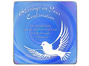 Confirmation Gift: Blue Metal Plaque with Dove (MP403)