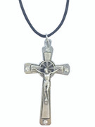 Silver Crucifix with Clear Crystals on Cord (CR3672C)