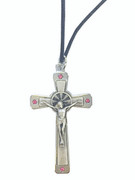 Silver Crucifix with Pink Crystals on Cord (CR3672P)