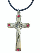 Silver Crucifix with Red Crystals on Cord (CR3672R)