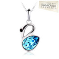 Classic Range - swan pendant with a stunning marine blue crystal