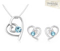 Classic Range - heart pendant & earrings with marine solitaire
