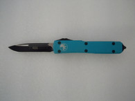 MICROTECH ULTRATECH  S/E BLACK STANDARD W/ TURQUOISE HANDLE