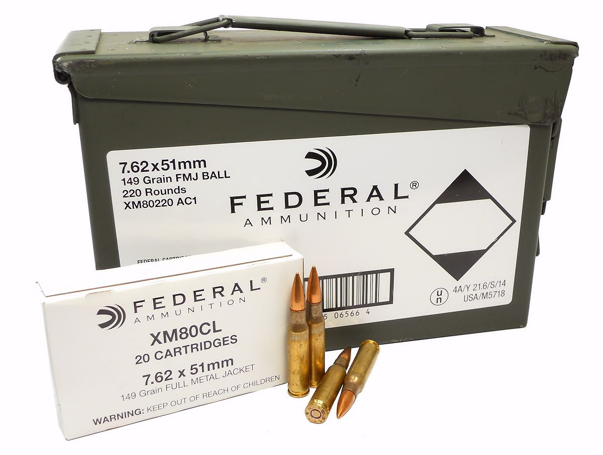 57.62x51mm Ammo 149gr FMJ Federal (XM80220 AC1) 220 Round Can