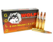 8mm Mauser Ammo 196gr SP Wolf Gold Box