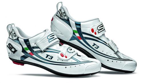 Sidi T3 Carbon Composite Triathlon Shoe in White with Blue
