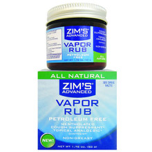 Zims All Natural Vapor Rub 1.75oz (Petroleum Free)