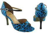 Blue Leopard Print Satin - Tango Shoes
