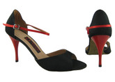 Black and Red European Satin - Tango Shoes