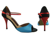 Black, Red and Blue Satin Love - Tango Shoes