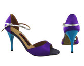 Purple Rain and Blue Soles (satin) - Tango Shoes
