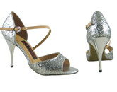 Glittering Silver Dust - Tango Shoes