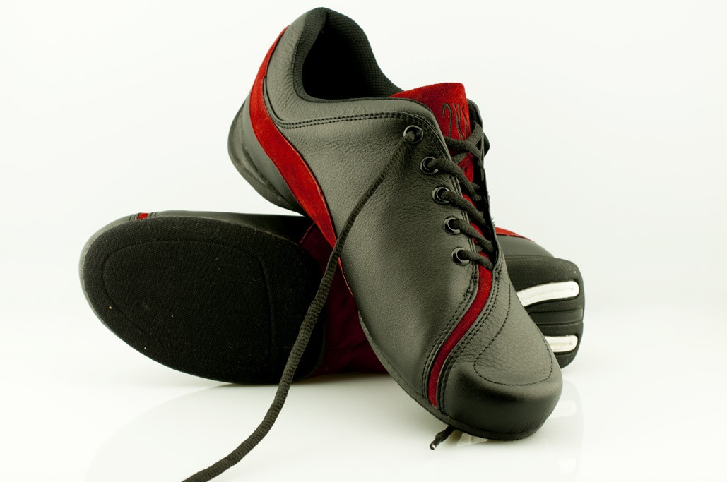 Tango Shoes - 2x4 al pie - Palermo Negro y Rojo (fully leather