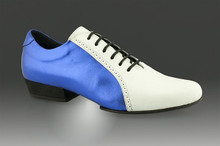 Online Tango Shoes - 2x4 al pie Abasto - Blue Majestick y Blanco (fully leather)