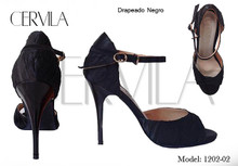 Online Tango Shoes - Cervila - Drapeado Negro (fully leather)