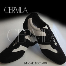 Online Tango Shoes - Cervila - Piazzolla Negro Blanco Gamuza Cuero (fully leather)