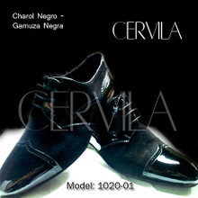 Online Tango Shoes - Cervila - Gardel Pico Negro Charol Gamuza (suede and leather)