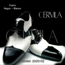 Online Tango Shoes - Cervila - Gardel Pico Negro Blanco (fully leather)