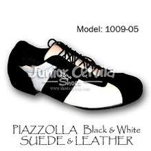Online Tango Shoes - Cervila - Piazzolla Negro Blanco Gamuza Cuero (suede and leather)