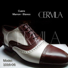 Online Tango Shoes - Cervila - Pebote Marron Blanco (fully leather)