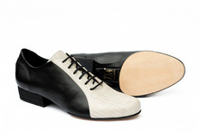 Online Tango Shoes - 2x4 al pie Almagro Flex Negro y Lagarto Cemento