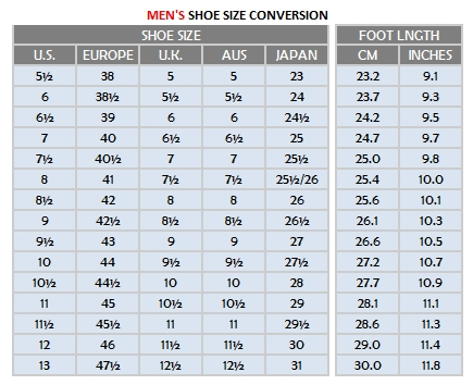 Men Shoe Sizes - Very Tango Online Store