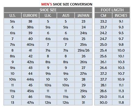 Mens Size Shoes Conversion Chart: Men Shoe Sizes - Very Tango Online Storerh:verytangostore.com,Chart