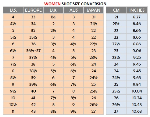 The following chart enables conversion of women's tango shoes between