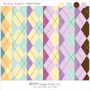 Spring Argyle Digital Paper Pack