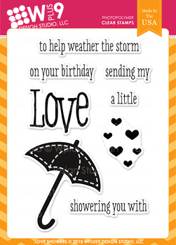 Wplus9 Love Showers Stamp Set