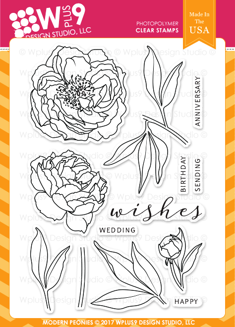 Wplus9 Modern Peonies Stamp