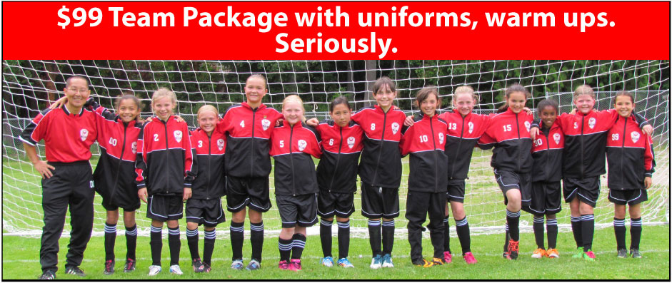 Soccer Team Package for $99 with soccer uniforms, warm ups by Code Four Athletics
