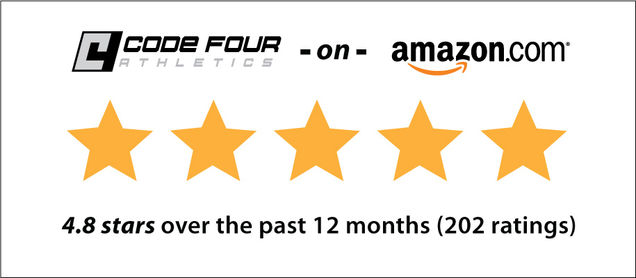Code Four Athletics on Amazon.com earns 4.8 stars rating