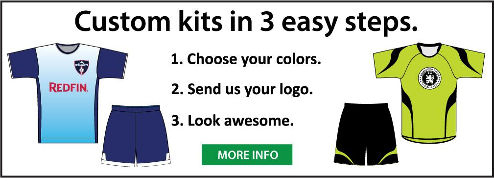 Custom soccer uniform kits by Code Four Athletics