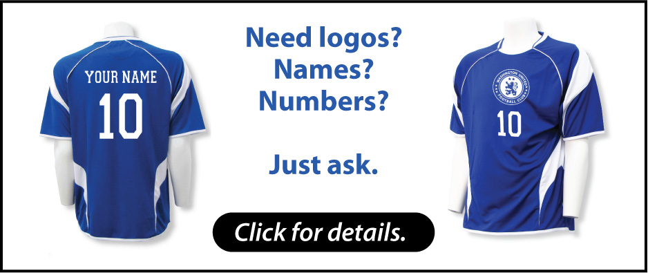 Customized soccer jerseys with names and numbers by Code Four Athletics