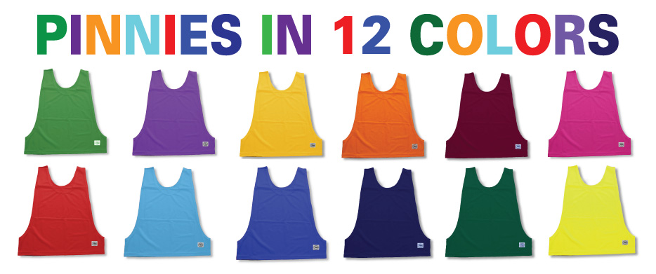 Soccer practice pinnies, pennies in 12 colors by Code Four Athletics