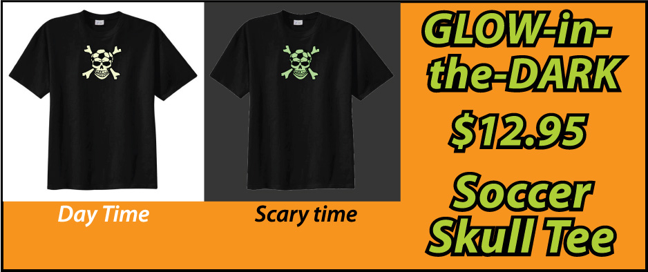 Soccer Skull glow in the dark tee by Code Four Athletics