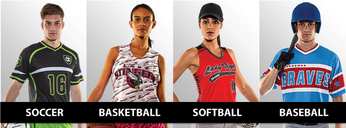 Custom sublimated uniforms for soccer, basketball and other sports by Code Four Athletics