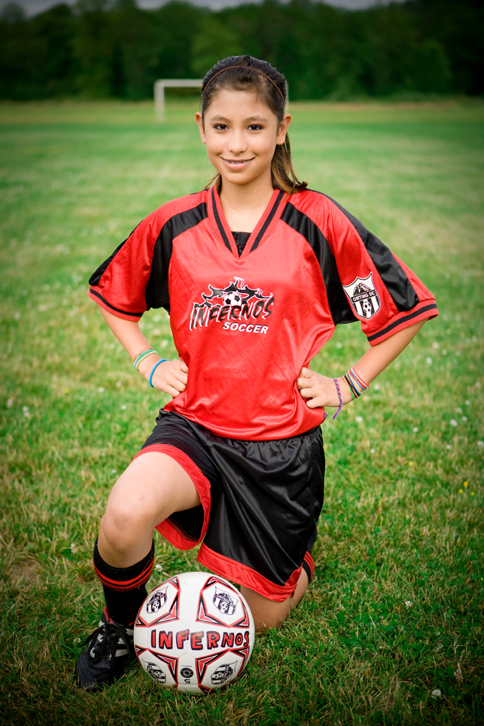 Inferno soccer player in Code Four Athletics Spitfire soccer kit