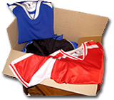 Box of Soccer Jersey Samples by Code Four Athletics, available on loan for free.