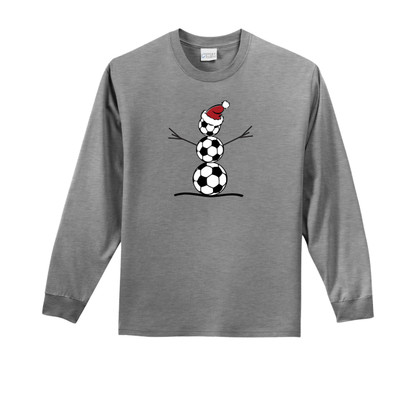 Soccer Snowman Long-Sleeve Tee in Athletic Heather