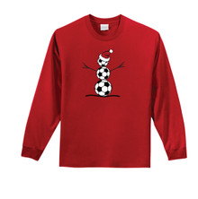 Soccer Snowman Long-Sleeve Tee in Red