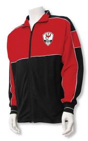 Lakewood Phoenix soccer warm-up jacket, in red/black
