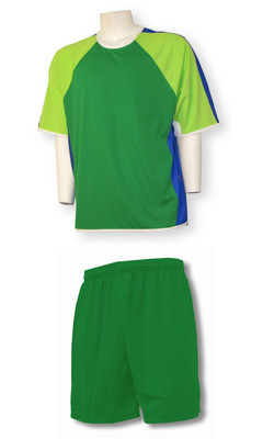 Seattle soccer uniform kit with kelly shorts